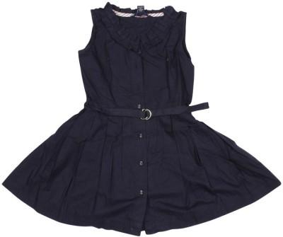 Old Khaki Gown Dress For Girls(Dark Blue Sleeveless)