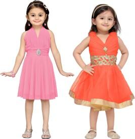 Aarika Baby Girl's Midi/Knee Length Party(Pink, Sleeveless)
