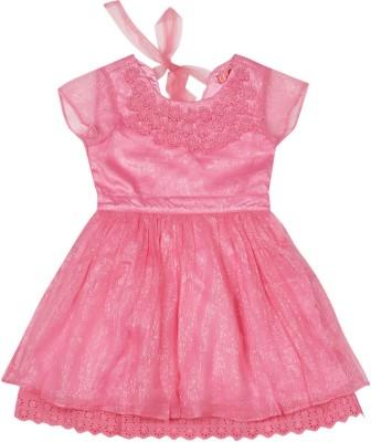 Elle Kids Girl's Mini/Short Casual Dress(Pink, Half Sleeve) at flipkart