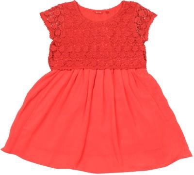 Elle Kids Girl's Midi/Knee Length Casual Dress(Red, Cap sleeve) at flipkart