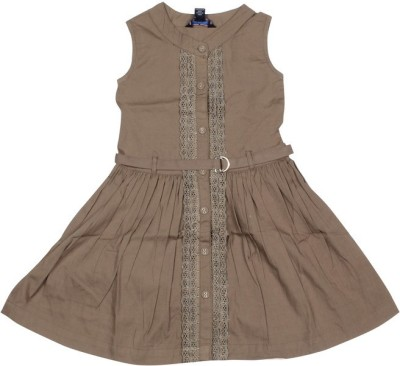 Old Khaki Gown Dress For Girls(Grey Sleeveless)