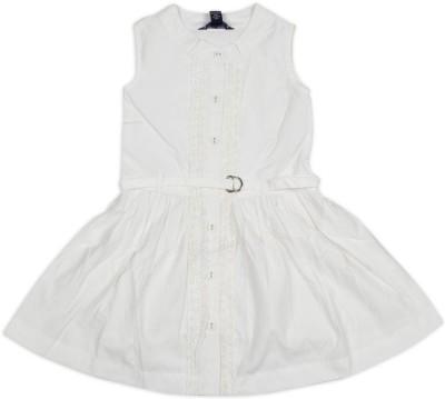 Old Khaki Gown Dress For Girls(White Sleeveless)