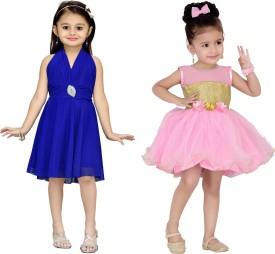 Aarika Baby Girl's Midi/Knee Length Party(Blue, Sleeveless)