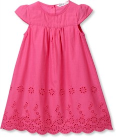 Beebay Baby Girl's Midi/Knee Length Casual(Pink, Cap sleeve)