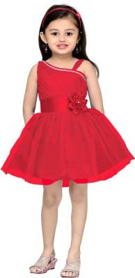 Aarika Girl's Midi/Knee Length Party Dress(Red, Sleeveless) at flipkart
