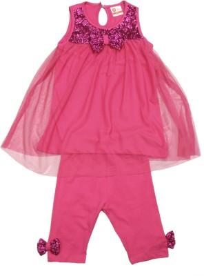 612 League Baby Girls Midi/Knee Length Casual Dress(Pink, Sleeveless)