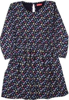Elle Kids Girl's Midi/Knee Length Casual Dress(Blue, Full Sleeve) at flipkart