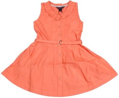 Old Khaki Gown Dress For Girls(Orange Sleeveless)