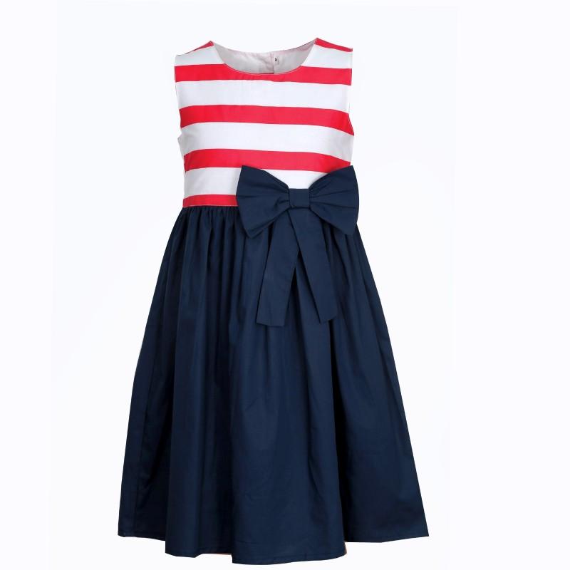 Bella Moda Girl's Midi/Knee Length Party Dress(Blue, Sleeveless)