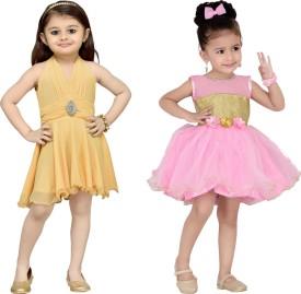 Aarika Baby Girl's Midi/Knee Length Party(Beige, Sleeveless)