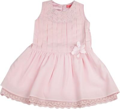 Elle Kids Girl's Mini/Short Casual Dress(Pink, Sleeveless) at flipkart