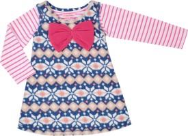 Crayon Flakes Baby Girl's Midi/Knee Length Casual(Blue, Full Sleeve)