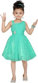 Aarika Baby Girl's Midi/Knee Length Party(Green, Sleeveless)