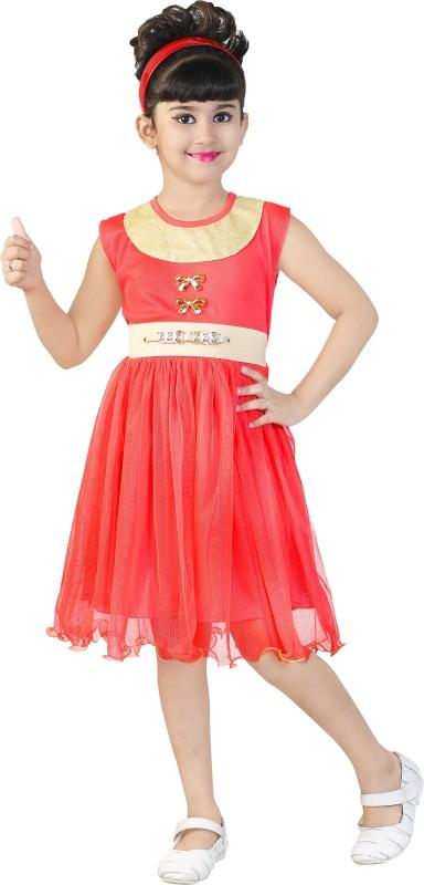 FTC Bazar Girl's Midi/Knee Length Party Dress(Multicolor, Sleeveless)