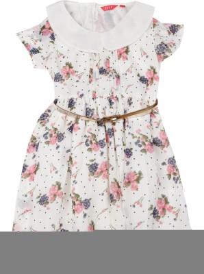 Elle Kids Girl's Midi/Knee Length Casual Dress(White, Half Sleeve) at flipkart