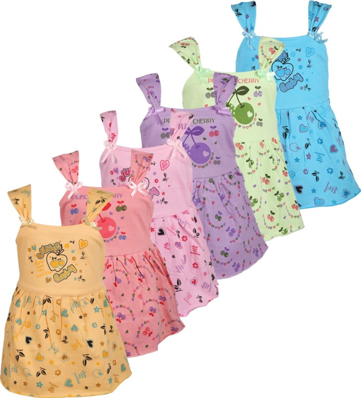 Wee Care Baby Girl's Mini/Short Casual Dress(Multicolor, Sleeveless)