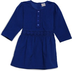 FS Mini Klub Baby Girl's Midi/Knee Length Casual(Blue, Full Sleeve)