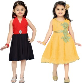 Aarika Baby Girl's Midi/Knee Length Party(Red, Sleeveless)