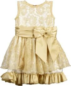Beanie Bugs Baby Girl's Midi/Knee Length Party(Gold, Sleeveless)
