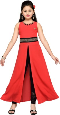 Hunny Bunny Girl's Maxi/Full Length Party Dress(Red, Sleeveless) at flipkart