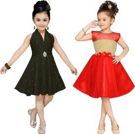 Aarika Girl's Midi/Knee Length Party(Black, Sleeveless)