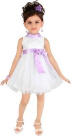 Littleopia Girl's Midi/Knee Length Party(White, Sleeveless)