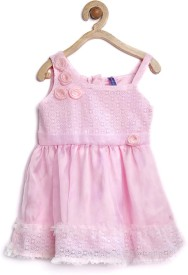 Yk Baby Girl's Midi/Knee Length Casual(Pink, Sleeveless)