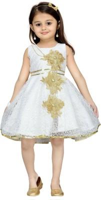 Aarika Girl's Midi/Knee Length Party Dress(White, Sleeveless) at flipkart