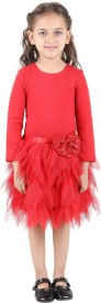 My Lil'Berry Girl's Midi/Knee Length Party(Red, 3/4 Sleeve)