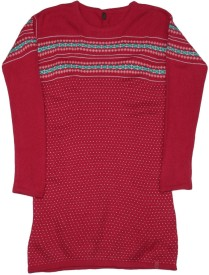United Colors of Benetton Baby Girl's Midi/Knee Length Casual(Red, Full Sleeve)