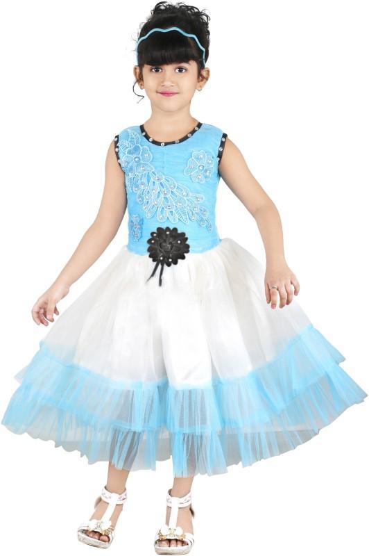 FTC Bazar Girl's Midi/Knee Length Party Dress(Multicolor, Full Sleeve)