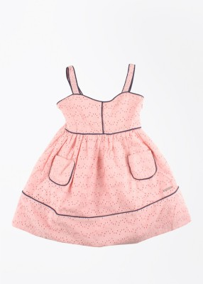 U.S. Polo Assn. Girl's Midi/Knee Length Casual Dress(Pink, Sleeveless) at flipkart