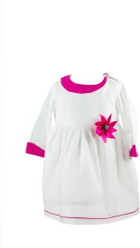 page3baby Baby Girl's Midi/Knee Length Party(White, Full Sleeve)