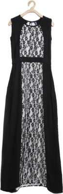 Yk Girl's Maxi/Full Length Casual Dress(Black, Sleeveless) at flipkart