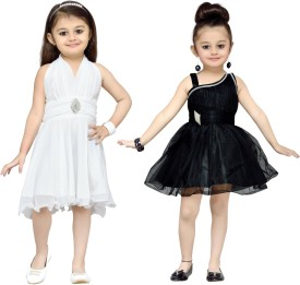 Aarika Girl's Midi/Knee Length Party(White, Sleeveless)