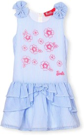 Barbie Baby Girl's Mini/Short Casual(Light Blue, Sleeveless)