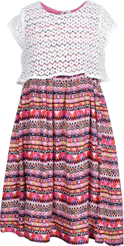 Bella Moda Girl's Midi/Knee Length Casual Dress(Multicolor, Cap sleeve)