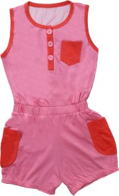 Play Club Dungaree For Girls Casual Solid Cotton(Pink, Pack of 1)