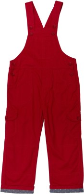 ChildKraft Dungaree For Boys Solid Cotton(Red, Pack of 1)