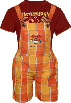 Seals Dungaree For Baby Boys(Orange)
