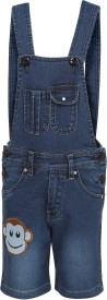 Benext Dungaree For Boys Solid Denim(Dark Blue, Pack of 1)