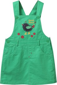 Beebay Dungaree For Girls Applique Cotton(Green)