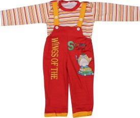 Babeez Dungaree For Boys & Girls Casual Printed Cotton(Red, Pack of 1)