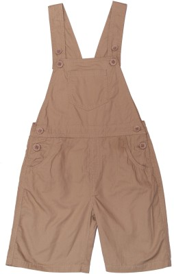 ChildKraft Dungaree For Boys Solid Cotton(Beige, Pack of 1)