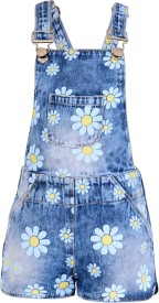 Naughty Ninos Dungaree For Girls Casual Floral Print Cotton(Multicolor, Pack of 1)