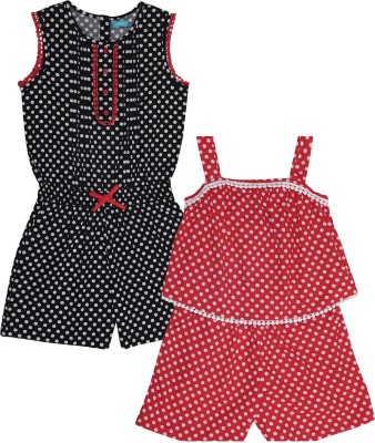 Miyo Romper For Girls Polka Print Cotton(Red, Pack of 2)