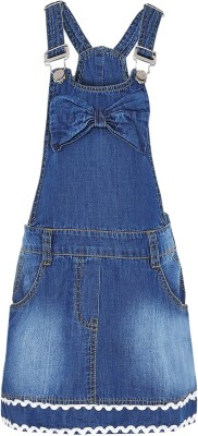 Naughty Ninos Dungaree For Girls(Blue)