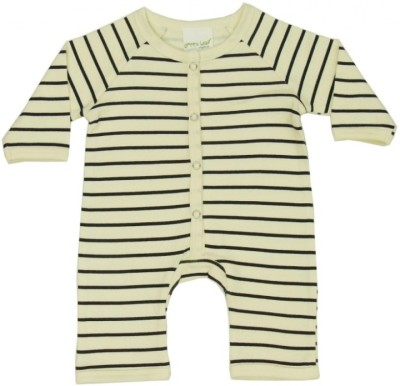 Green Leaf Organics Romper For Baby Boys & Baby Girls(Black)
