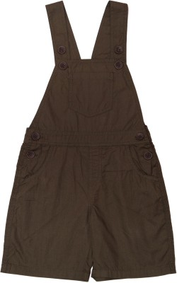 ChildKraft Dungaree For Boys Solid Cotton(Brown, Pack of 1)