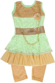 kidies wear Girls Kurta and Leggings Set(Green Pack of 1)